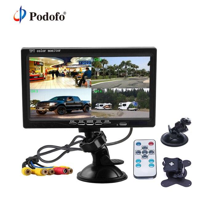 """Podofo 7 """"スプリットジタルスクリーンクワッドモニター 4CH ビデオ入力フロントガラススタイル駐車ダッシュボード車のリアビューカメラ用車スタイリング"""