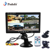 """Podofo 7"""" Split Screen Quad Monitor 4CH Video Input Windshield Style Parking Dashboard For Car Rear View Camera Car styling"""