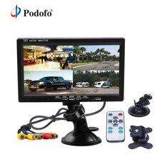 """Podofo 7 """"bölünmüş ekran dörtlü monitör 4CH Video girişi cam tarzı park araba için gösterge paneli dikiz kamera araba araba styling"""