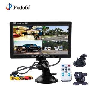 """Image 1 - Podofo 7 """"bölünmüş ekran dörtlü monitör 4CH Video girişi cam tarzı park araba için gösterge paneli dikiz kamera araba araba styling"""