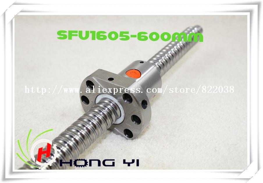 ФОТО 16mm 1605 Ball Screw Rolled ballscrew 1pc SFU1605 L600mm with 1pc 1605 Flange single ballnut for CNC part