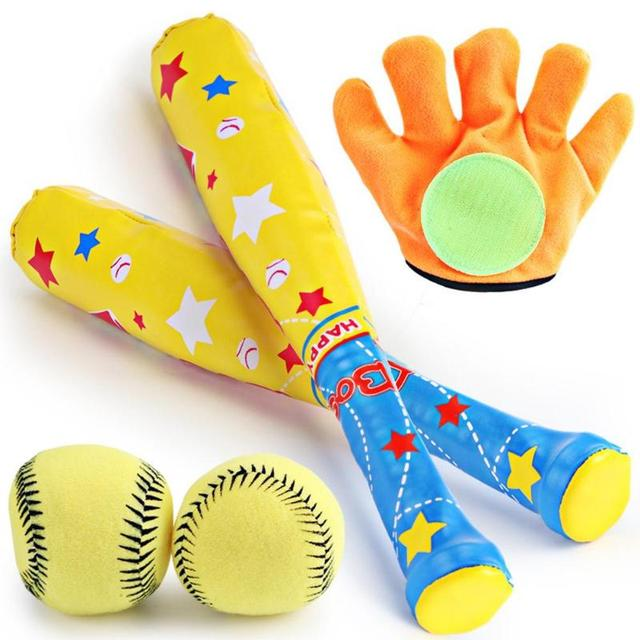 5c07cd3bc1e56 Boné de Beisebol do bebê Set Brinquedos Brinquedos de Plástico Macio  Esporte Baseball Crianças Bat Luvas