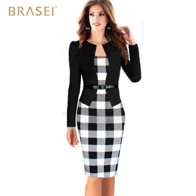 BRASEI 2016 Fashion Black Women Work Wear Classic Plaid Patchwork Formal  Office Business Bodycon Pencil Dress 0baaad92f4c0