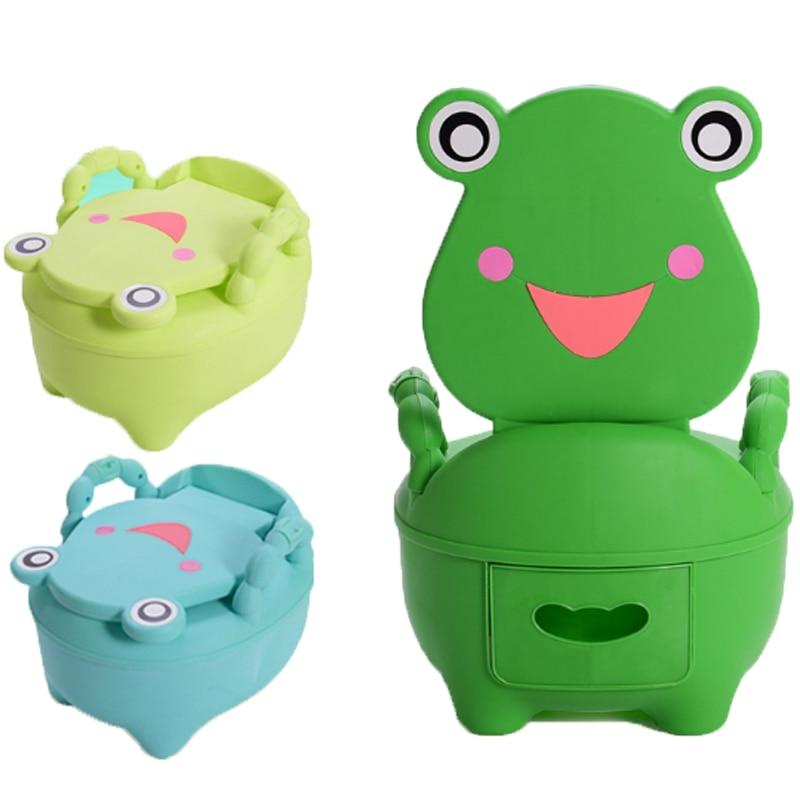 Rajzfilm bolyhos baba műanyag WC lányok fiú hordozható cserepes szék összecsukható szék aranyos béka fiókos edzés potty gyermek WC