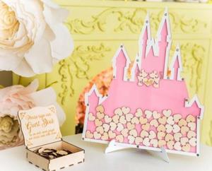 Personalize rosa rato casal casamento castelo gravado Alternativa de memória livro de visitas livro de visitas com caixa de coração gota top aniversário