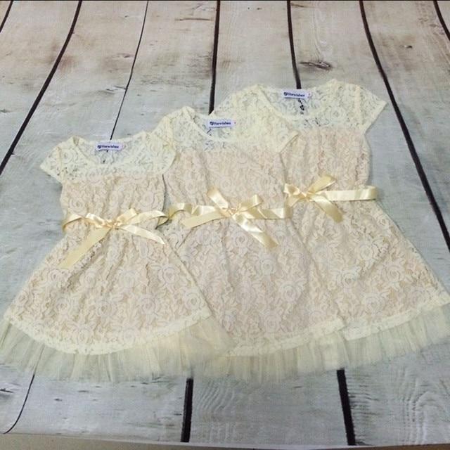 Elfenbein Spitze Blume Mädchen Kleid, Junior Brautjungfer Kleid ...