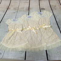 Ivory Lace Flower Girls Dress Junior Bridesmaid Girls Dress Summer Lace Girls Clothes Big Girls Country