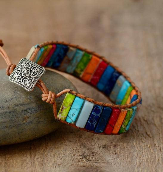 Chakra Bracelet Jewelry Handmade Multi Color Natural Stone Tube Beads Leather Wrap Bracelet Couples Bracelets Creative Gifts 6
