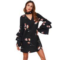 Fashion Flare Sleeve Women A Line Beach Dress Black Floral Spring Autumn Long V Neck Sexy Elegant Party Dresses