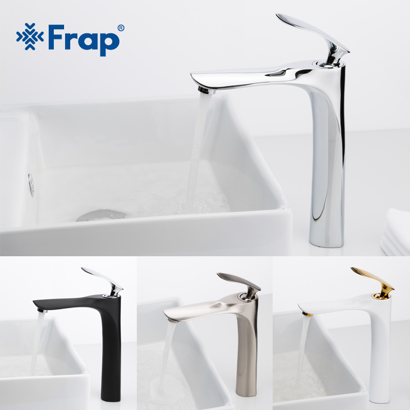 FRAP 7 Colors Tall Basin Faucets Bathroom Faucet Hot And Cold Water Mixer Tap Chrome Brass Toilet Sink Water Heightening Crane
