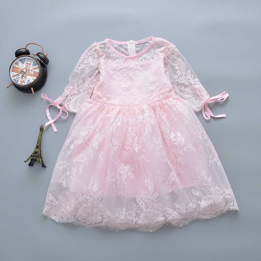 afairytale Girls Dress 2017 New Lace Girls Clothes Pink Short sleeves Princess Children Summer Clothes Baby Girls Dresses