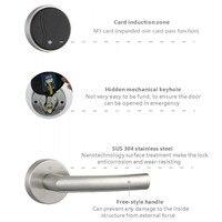 Lachco fechadura de porta eletrônica inteligente rfid cartão keyless trava com deadbolt aço inoxidável prata livre-estilo lidar com l16062bs