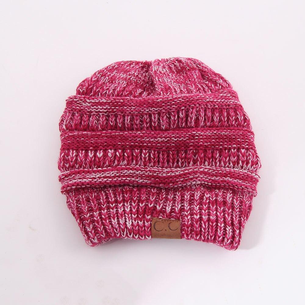 CC Fashion Ponytail Beanie Winter Hats For Women Crochet Knit Cap Warm Caps  Female Knitted Stylish Hat Ladies Skullies Beanies 9b812cfba7d