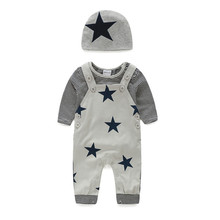 Baby Double Layers Cotton Romper Set Stripped Pattern Baby Boy Caters Clothes Casual Long Sleeve Tops
