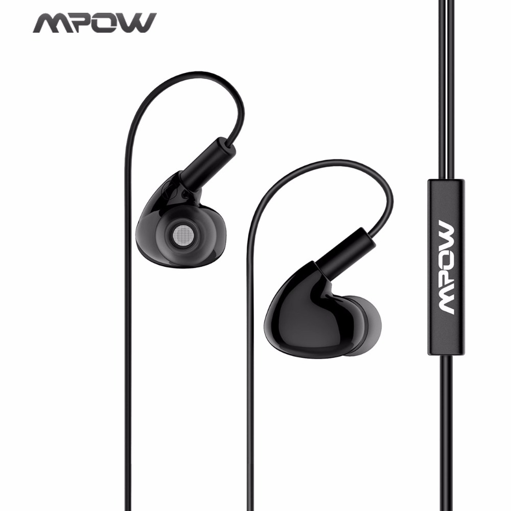 Mpow 3.5mm Wired Earphones Sport Earphone Crystal Clear Sound Bass with Mic Carrying Case For MP4 MP3 Xiaomi Huawei iPhone Sony