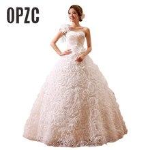 Hot sprzedaży wiosna i lato koreański styl vestidos de noiva jedno ramię projektant ślubne suknie z rękawami kobiety Princess Dress