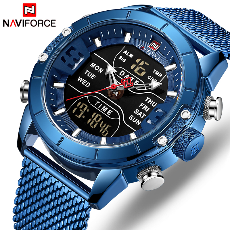 NAVIFORCE Digital Clock Watch-Top Wrist-Watches Sport Quartz Stainless-Steel Military