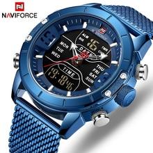NAVIFORCE Männer Uhr Top Luxus Marke Mann Military Sport Quarz Handgelenk Uhren Edelstahl LED Digital Uhr Relogio Masculino