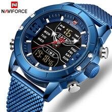 Naviforce relógios masculinos, relógios de luxo de marca superior para militar esportivo relógios de quartzo para pulso relógio digital com aço inoxidável com led