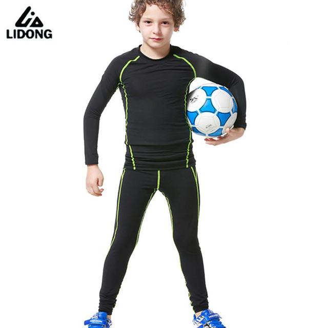 037210b8e2e48 2017 New Kids Youth Compression Runing Pants Jerseys Survetement Football  Boys Soccer Training Long Shirts Skinny Tight Leggings