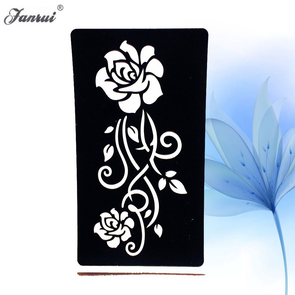 Indian Henna Rose Lace Flower Tattoo Stencil Women DIY Body Legs Arm Art Airbrush Painting Small Tattoo Stencil Template AG152