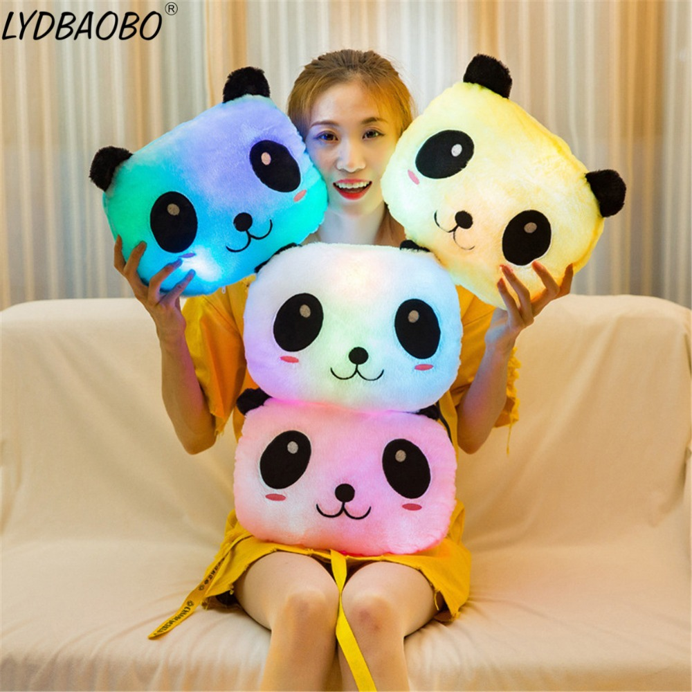 Creative Luminous Pillow Panda Cushion Colorful Glowing Infant Appease Animal Plush Doll Led Light Toy Girl Kids Christmas Gifts image