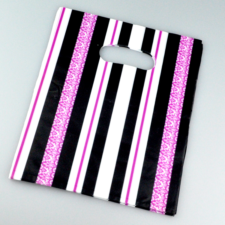 Wholesale 100pcs/lot 20x25cm Hot Pink Black Striped Plastic Gift Bag Boutique Shopping Jewelry Packagng Plastic Bags With Handle