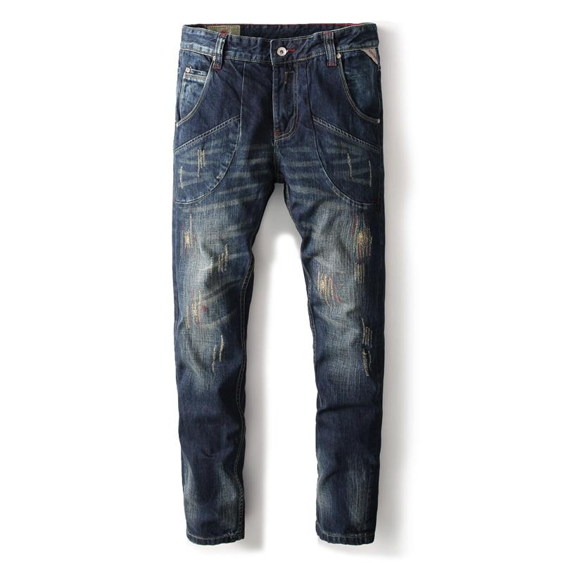 Casual Style Brand Clothing Men`s Patchwork Jeans Distressed Mid Stripe Slim Fit Denim Dark Blue Jeans Men Ripped Pants A633 men s cowboy jeans fashion blue jeans pant men plus sizes regular slim fit denim jean pants male high quality brand jeans