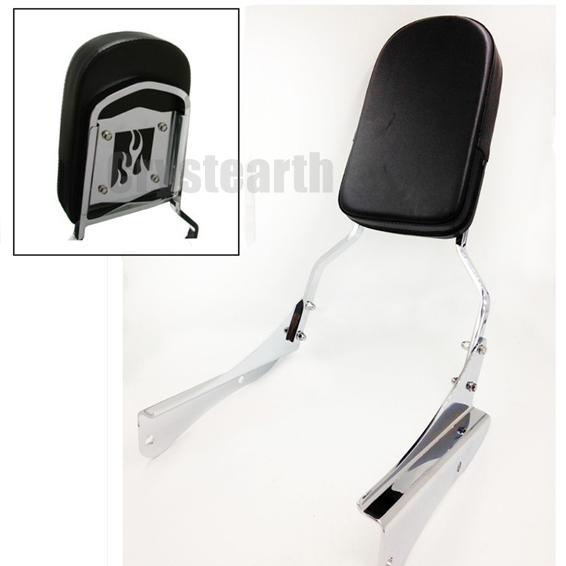 For Honda Shadow Spirit 750 VT750 750 DC 2001-2008 02 03 04 05 06 07 Chrome Motorcycle Rear Flame Backrest Sissy Bar Cushion Pad shadow of the flame