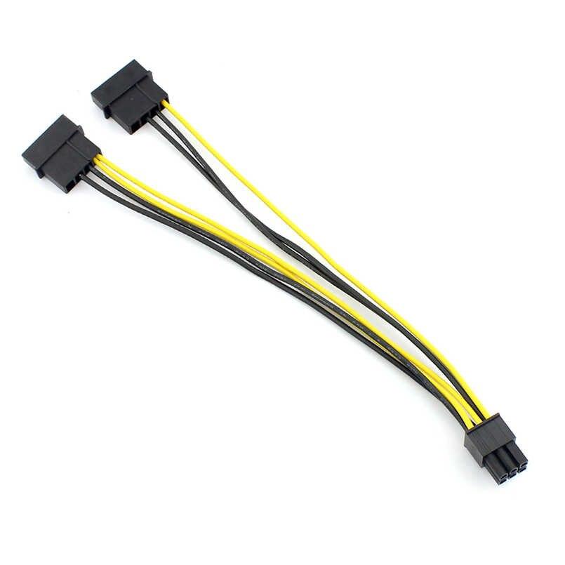 1 PCS 18AWG 20 CM כפולה 4 פינים 4 P כדי 6 פין 6 P Molex PCI-E כרטיס מסך חיצוני כוח כבל ממיר מתאם כבל
