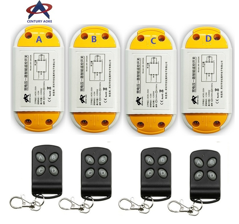 AC220V 110V 85-240V 1CH 10A RF Wireless Remote Control Switch System 4 A2 transmitter & 4 receiver Smart Home Switch венчик tefal k0800514 пластик нержавеющая сталь