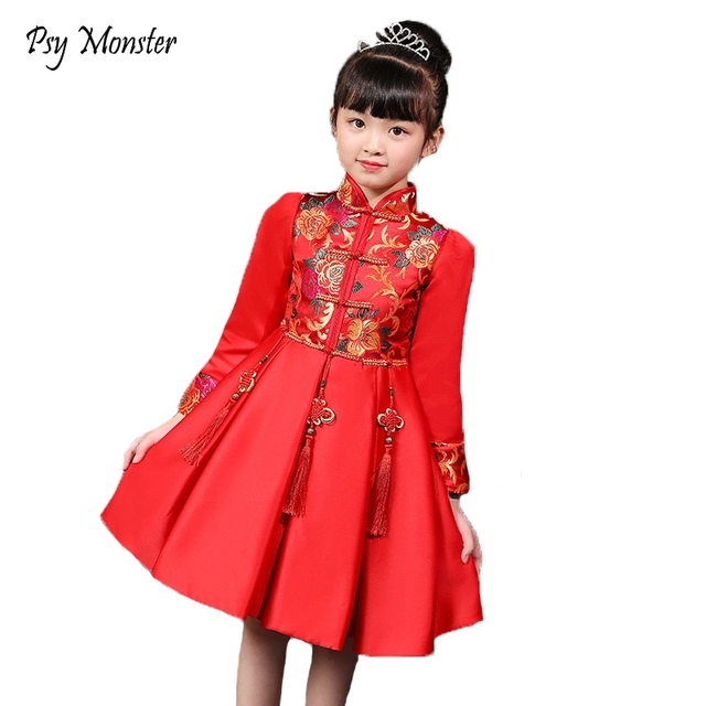 6e868d4c0 Girls Autumn New Long-sleeved Dress Children's Chinese Style Clothing Kids  Traditional Cheongsam Dress Garments