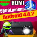 ATCO 5500 Люмен 300 inch Quad core Android 4.4 WiFi 10000:1 переход DLP 3D Портативный HDMI Заднего proyector Проектор проектор