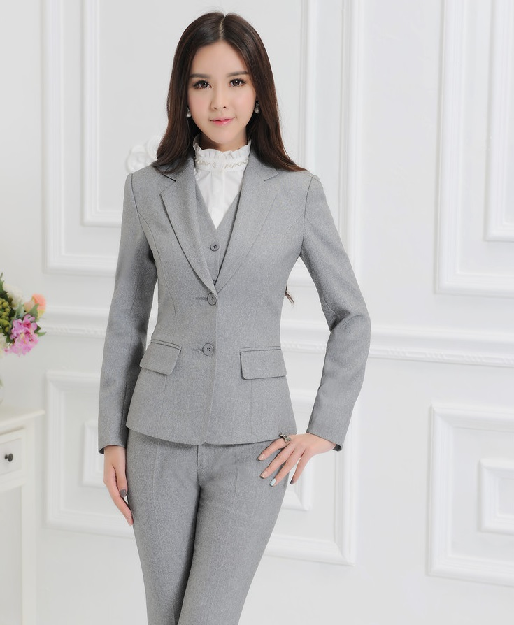 Novelty Grey Formal OL Styles Autumn And Winter Professional Business Suits 3 pieces With Jackets Pants