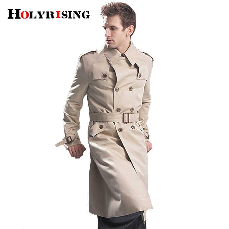 Trenchcoat Männer Klassische Zweireiher Mens Langen Mantel Herrenmode Lange Jacken & Mäntel Britischen Stil Mantel S-6XL größe
