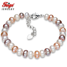 Genuine Freshwater Pearl Strand Bracelet for Women 6.5-7.5mm Multicolor Natural Bracelets Fine Jewelry