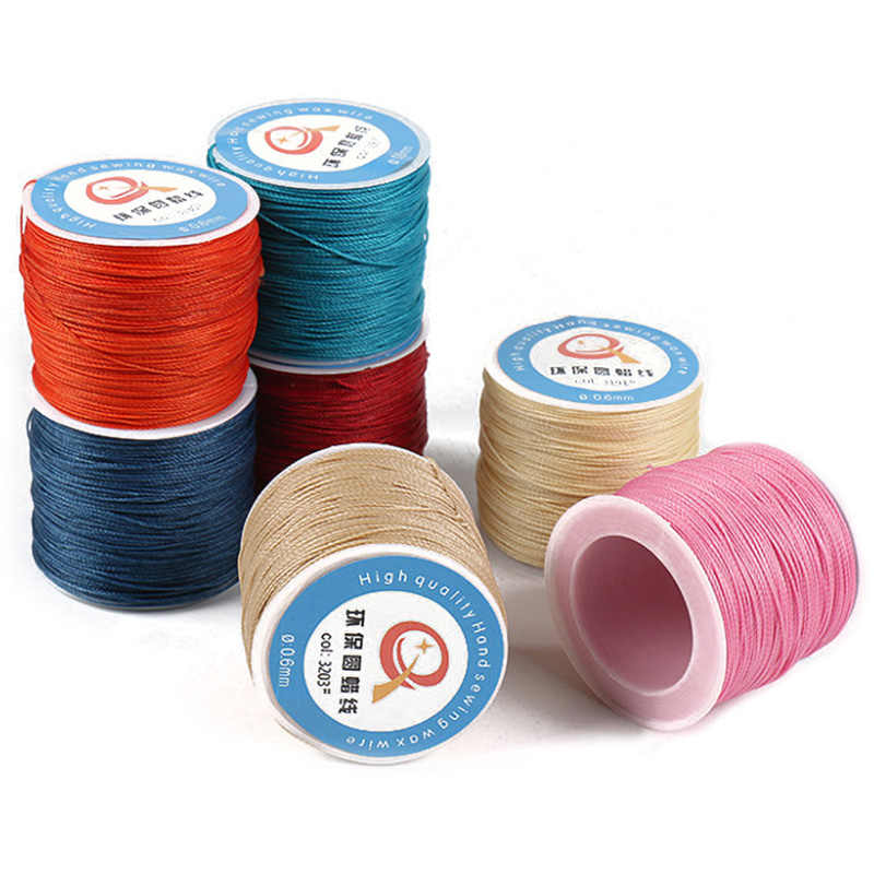 0.6mm Round Linen Stitching Thread Waxed Cord Wax String for Leather Craft Sewing DIY Jewelry Making