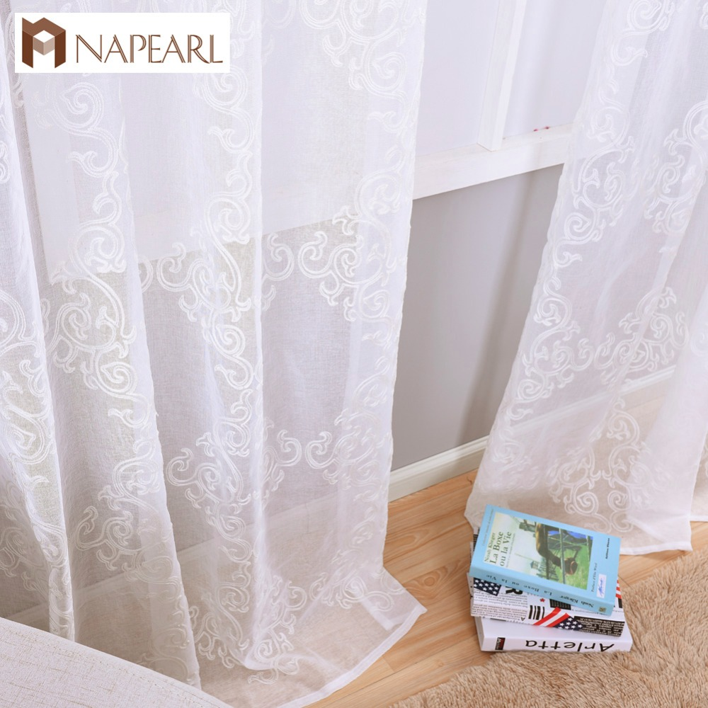 Embroidered Tulle Linen Curtains European Luxury Modern Curtain Living Room Window Treatments Kitchen Sheer