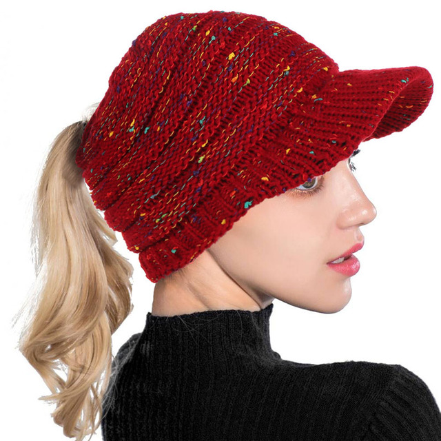 1eecde771 US $3.39 40% OFF|AudWhale Winter Ponytail Beanie Hats For Women Sun Protect  Cotton Bling Spot Women's Winter Cap Beanies Hole Hat For A Girl-in ...