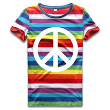 Rainbow Top Tees for Women O Neck T Shirts Woman Striped Short Sleeve Top Colorful Stripes Anti War Love Round Neck недорого