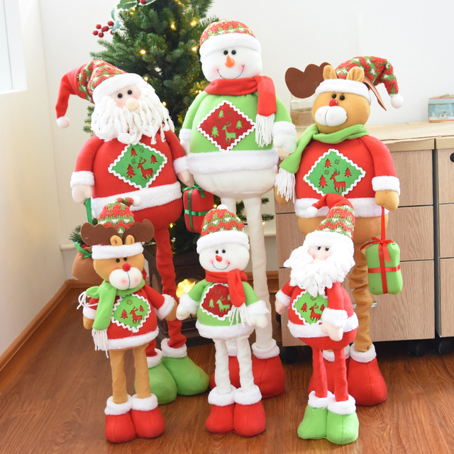 Christmas Scalable Leg Plush Doll Snowman/Santa Claus/Elk Kids Gift Christmas Decorations New Year Festival Party Supplies