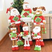 Noel Ölçeklenebilir Bacak Peluş Bebek Kardan Adam/Noel Baba/Elk Çocuklar Hediye Noel Süslemeleri Yeni Yıl Festivali Parti Malzemeleri
