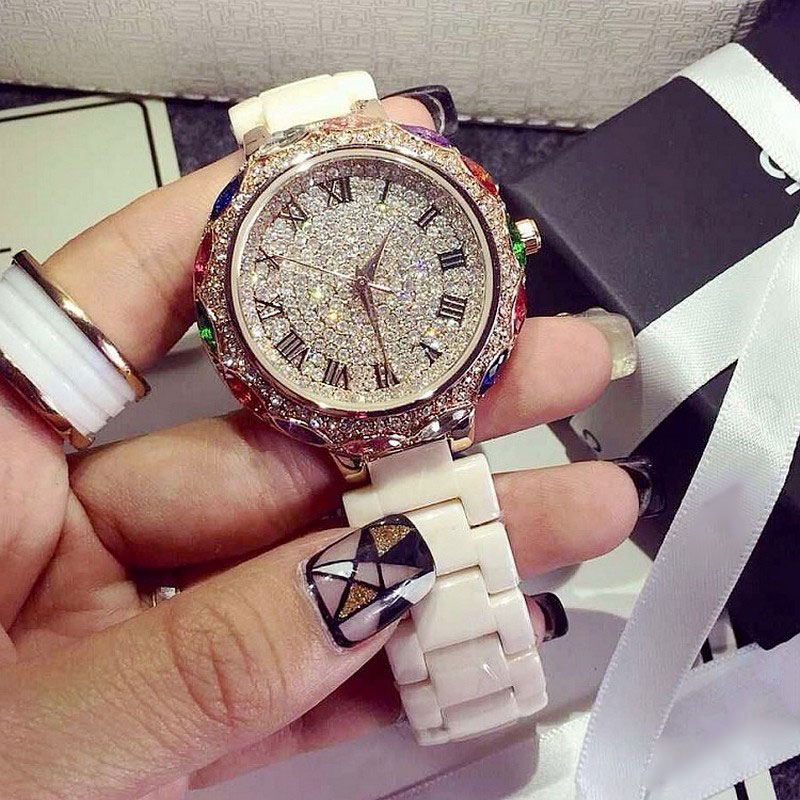 2017 New Arrival Famous Brand Full Crystal Ceramic Band Watch Women Luxury Colorful Zircon Rhinestone Watch For Women relojes