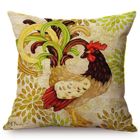 Colorful Cock Oil Painting Art Chicken Rooster Throw Pillow Cover Home Decorative Cotton Linen Sofa Cushion Cover Car Pillowcase M093-1