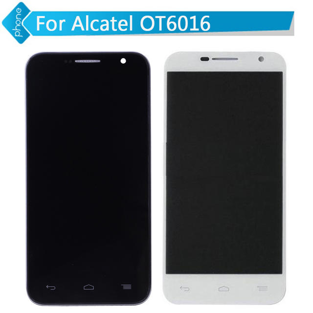 Para alcatel one touch idol 2 mini ot6016 6016 display lcd touch screen digitador com a montagem do quadro preto e branco