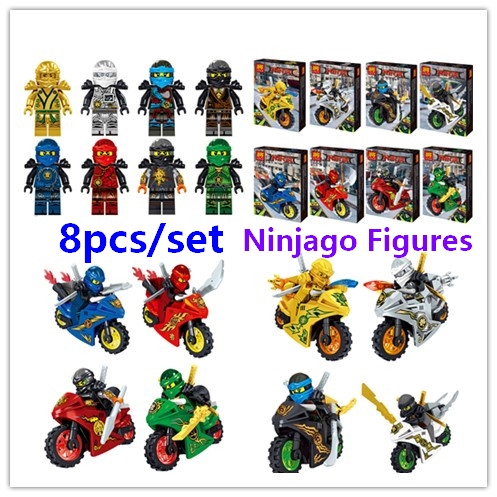 Ninjago figures Ninja Kai Jay Zane Cole Lloyd Carmadon with motorcycle Compatible With Lego Building Blocks Toys Free Shipping