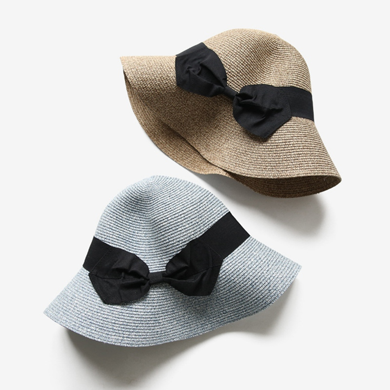 Folding Sunscreen Sun Hat Bow Tie Hand Woven Beach Shading Fisherman's Hat Shading Face Female Outdoor Household Products