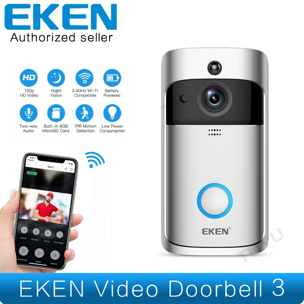 EKEN Smart Vidéo Sonnette 3 en Temps Réel 720 p HD Vidéo Wifi Caméra Bidirectionnelle Audio Nuit Vision app Contrôle V2 Compatible Wi-Fi Sonnette