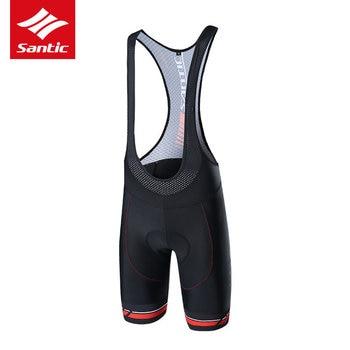 Santic Men Cycling Bib Shorts 2021 Pro 4D Gel Padded Breathable Italian MITI TAVALOR Fabric Reflective Clothing Ciclismo