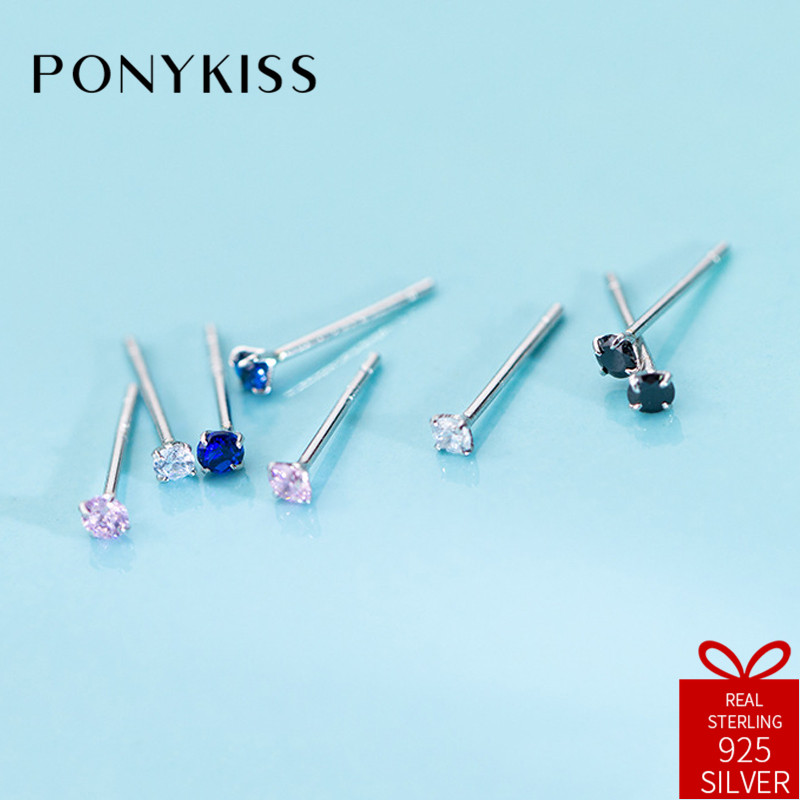 PONYKISS Trendy 100% 925 Sterling Silver Chic Simple Zircon Stud Earrings Women Party Delicate Accessory Girl Birthday Cute Gift